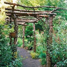 We've got abundant downed wood from our woods that can be repurposed into many wonderful things, such as fencing, garden posts, and something like this charming garden arbor. If you're using your arbor to grow and support grapevines, just be sure you bury