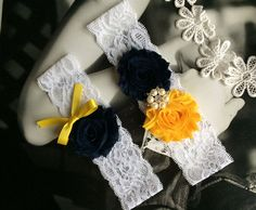 Snorkel Blue and Gold Wedding Garter Set, Dark Navy Bridal Garter Belts by ShopForFashion