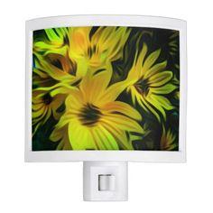 Abstract yellow flower night light