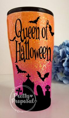 Queen of Halloween Sparkle Tumbler, Silver Buffalo /Members Mark/ Are you the Queen of Halloween? DO you also LOVE Glitter, Glitter and more GLITTER! Diy Tumblers, Custom Tumblers, Glitter Tumblers, Epoxy, Tumblr Cup, Halloween Cups, Cup Crafts, Bottle Crafts, Custom Cups
