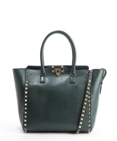 Valentino emerald leather 'Rockstud' studded detail convertible top handle tote