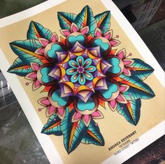 Tattoo by Andrea Revenant  Mandala flower watercolor painting