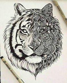 """Résultat de recherche d'images pour """"half lion face tattoo"""""""