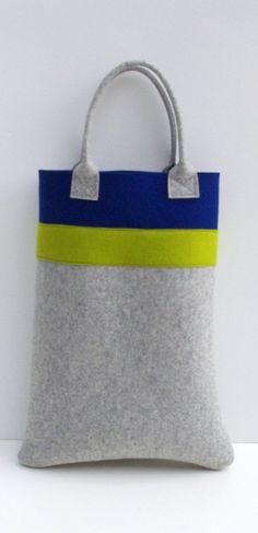 Shopper sovradimensionato feltro Tote blu e grigio di WeltinFelt