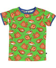 Småfolk groene t-shirt met oranje visjes. nl.emilea.be