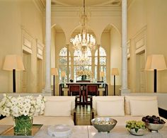 Fashion designer Elie Saab and his wife, Claudine, collaborated with Chakib Richani Architects to restore an early-20th-century house in the Gemayzeh district of Beirut, Lebanon. The living area, which occupies the substantial central hall, has Richani-designed lamps, tables and sofas.