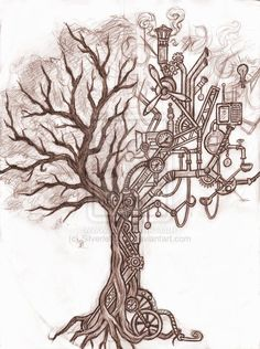 left forearm: The roots growing into the gears. :: steampunk tree by ~Silverleopard on deviantART
