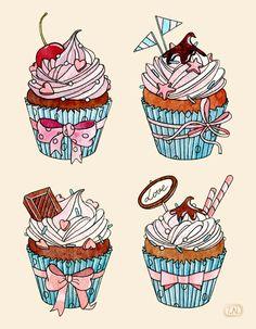 cupcakes by Natalia Tyulkina, via Behance