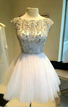 Luxurious Beaded White Ball Gown Round Neckline door LovelyDresses17