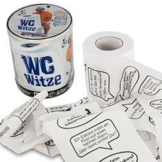 Endlich ein Geschenk, das gleichermaßen witzig wie auch nützlich ist. Das Klopapier mit Witzen macht jeden Toilettengang zum Training für Dein Zwerchfell. via www.monsterzeug.de