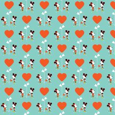 Valentines Mickey and Minnie fabric by kathrynrose on Spoonflower - custom fabric