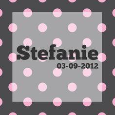 Geboortekaartjes - Stefanie met stippen grijs en roze