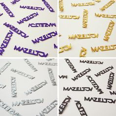 Jewish Confetti, Mazel Tov, Congratulations, Gold, Silver, Black and Purple for a Simcha, Wedding, Bar Mitzvah, Batchayil or Baby Shower by SimchaCentralShop on Etsy