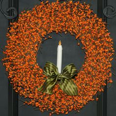Fall Wreath -  Candle Wreath - Orange Wreath.