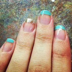 Tiffany blue and gold opi