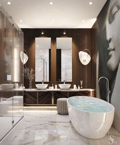 30 Glamorous Bathroom Design Ideas You Never Seen Before – Homely Bathroom Lighting Design, Bathroom Design Luxury, Luxury Bathrooms, Modern Luxury Bathroom, Luxury Hotel Bathroom, Hotel Bathrooms, Minimalist Bathroom, Dream Bathrooms, Contemporary Bathrooms