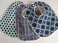 LIMITED  Modern Meadow Baby Boy Bibs  Set of 3 by HazelLove, $25.50