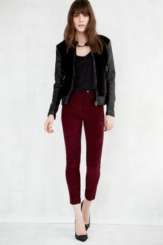 vegan leather and faux pony hair jacket in [ sniffy stiffy ] and hi rise corduroy skinny in [ doll face ]