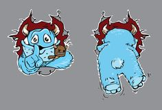 Sweet vector monster character designed in two different postures - front and back. That's perfect for t-shirt designs, we assure you that your t-shirt will l