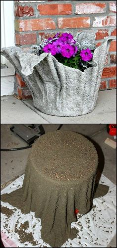 konkrete DIY Projekte zur Verschönerung Ihres Gartens - Diy and Crafts Turn an old towel into a stunning concrete planter! It might seem like an expert's job but this planter is a very basic concrete project. Get more concrete towel planter ideas from ou Cement Art, Cement Planters, Concrete Pots, Concrete Crafts, Concrete Garden, Garden Planters, Hand Planters, Garden Crafts, Garden Projects