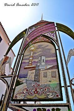 Los vecinos de Villa de Mazo preparan la colocación de los arcos y alfombras que cubrirán las calles desde la madrugada del día del Corpus (29 de Mayo 2013)