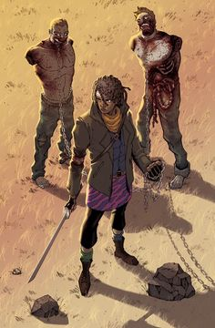 Michonne (pronounced MI-SHOWN) is a fictional character from the horror drama series The Walking Dead. Created by Robert Kirkman, Tony Moore, Charlie Adlard she made her debut in The Walking Dead in The Walking Dead Tumblr, Walking Dead Comics, Walking Dead Tv Series, Fear The Walking Dead, Arte Zombie, Zombie Art, Cyberpunk, Twd Comics, Fantasy Anime