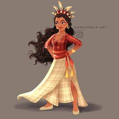 Disney Princesses x : Moana . Moana wears a traditional Cordilleran attire with her signature color. The Cordilleran Tribes are from the Northern Part of Luzon(the largest island in the Philippines) . Moana Disney, Disney Nerd, Princesa Disney, Arte Disney, Disney Fan Art, Disney Girls, Disney Movies, Disney Artwork, Moana Moana