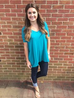 Piko v neck - Teal. #shoplovejune #summer #ootd #fashion #boutique #piko