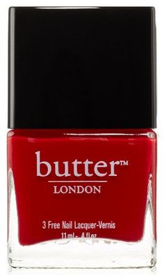 "butter LONDON vegan Nail Lacquer in ""Come To Bed Red"" (""I absolutely love Butter London's Nail Lacquer in ""Come to Bed Red"". It's the perfect bright red and looks so perfectly polished on short nails. It goes on so smooth and dries in a flash. It also has really good staying power when topped with a top coat. I really need to try more shades as this one is so impressive."" - Vegangela.com)"