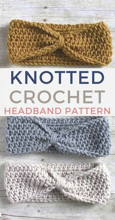 Knotted Crochet Headband Pattern - Free Beginner-Friendly Crochet Pattern from Rescued Paw Designs Make this easy crochet knot headband today with this free crochet headband pattern. Uses only one stitch the HDC crochet stitch which is great for beginners Crochet Ear Warmer Pattern, Crochet Headband Pattern, Knitted Headband, Easy Crochet Patterns, Knot Headband, Crochet Designs, Crocheting Patterns, Hdc Crochet, Crochet Hook Sizes
