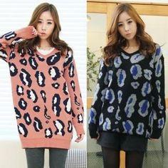 Black Queen  Leopard-Pattern Knit Sweater