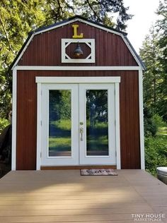 Tiny Cabins, Cabins And Cottages, Door Images, Double French Doors, Sleeping Loft, Tiny Houses For Sale, Tiny House Living, Tiny House Plans, Home Photo