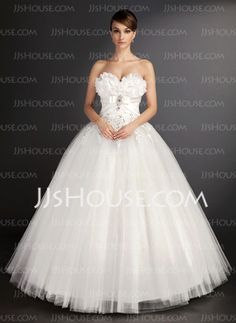 A-Line/Princess Sweetheart Floor-Length Satin Tulle Wedding Dresses With Lace Beadwork (002015490) - JJsHouse en