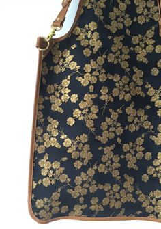 Ray Steels Tan Leather Apron - Black and Gold Floral