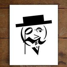 Hello, Fancy Man! You're looking fine with your dapper hat and monocle. He's made entirely of music notes and symbols. Archival quality fine art print is printed in deep black on bright white, acid-fr