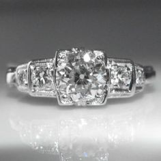 #1.0 #ct #Art #Deco #Diamond #Ring set in #Platinum #Antique €4,995 #Jewelry #The #Antiques #Room #Galway #Ireland Art Deco Diamond Rings, Diamond Engagement Rings, Art Deco Jewelry, Vintage Jewelry, Galway Ireland, Platinum Jewelry, Vintage Diamond, Unique Vintage, Jewellery