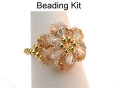 Beading Kit and Pattern - Crystal Flower Ring in Light Topaz #2702