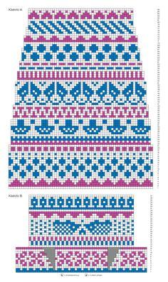 Kirjoneulesukat – katso ohje | Meillä kotona Fair Isle Knitting Patterns, Fair Isle Pattern, Knitting Charts, Knitting Stitches, Knitting Socks, Knit Patterns, Free Knitting, Fair Isle Chart, Cross Stitch Borders