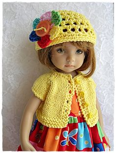 """Bright Yellow Dragonfly Outfit for Effner 13"""" Little Darling Made by Ulla 