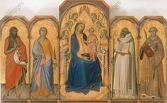 Maria mit Kind auf dem Thron und sieben