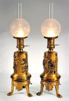 Pair of Barbedienne Carcel Lamps  c. 19th Century