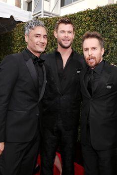 Taika Waititi Chris Hemsworth and Sam Rockwell at the 75th...
