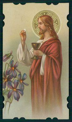 Antique Holy Card Vintage Die Cut Jesus Communion Halo Chalice Flower NB   eBay