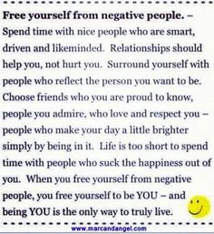 """Free yourself from negative people"" quotes via www.MarcandAngel.com"