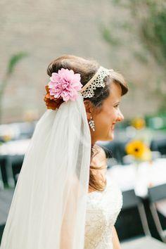 flowers + veil // photo by Kate Romenesko // http://ruffledblog.com/chicago-day-dead-wedding