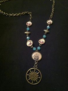 "Naval compass necklace On 26"" brass chain $15"