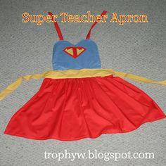 Super Teacher Apron -- Gotta ask my mom to make this! Superhero Classroom Theme, Superhero Room, Classroom Themes, Crochet Teacher Gifts, Crochet Gifts, School Themes, School Fun, Teacher Humor, Teacher Appreciation
