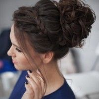 large bun with braided headband