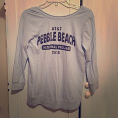 Baby blue pebble beach 3/4 sleeve scoopneck Scoopneck, 3/4 sleeve, baby blue women's sweatshirt size small. Never worn, brand new, bought at the 2015 national pro-am golf tournament at pebble beach. Retro brand. Perfect condition Retro brand Tops Tees - Long Sleeve