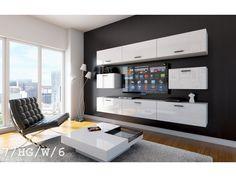 Meblościanka LINK C7 połysk - #Meblościanki #Meble #furniture #sklepmeble #design #polishfurniture #wardrobe #sleepingroom #blackandwhite #living #home #interior #interiordesign #white #gloss